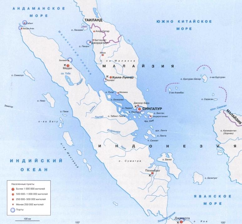 Карта Малаккского пролива